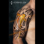 digital shoulder tattoo of a koifish tribal drawing