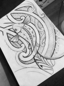 how to draw a tribal koifish tattoo