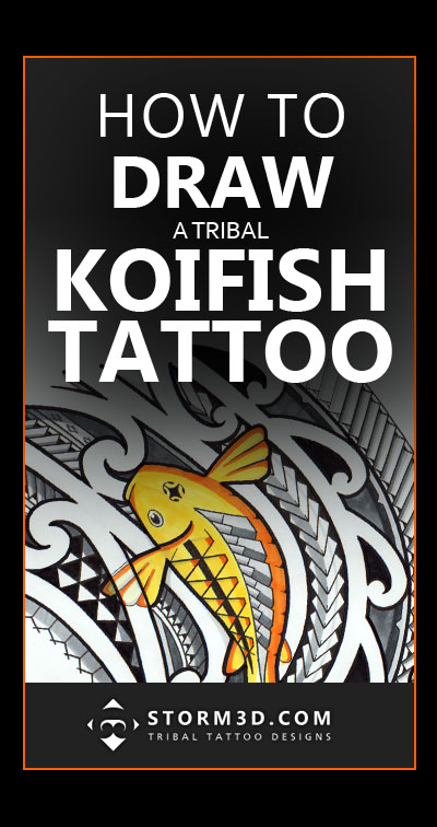 how-to-draw-a-tribal-koifish-tattoo-design-drawing-with-pencils-and-promarkers