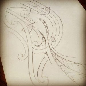 mixing maori tattoos with koifish design