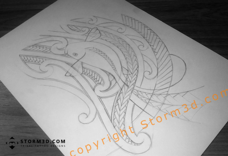 pencil sketch of a tribal koifish tattoo drawing