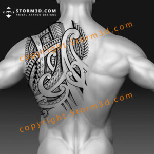 maori-back-tattoo-shoulderblade-design-with-shading-and-koru-patterns