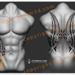 awesome-maori-fern-wings-upperback-tattoo-design-beautifull-design