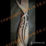 maori-fern-leaf-tattoo-inner-forearm-red-tatau