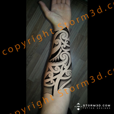 Inner forearm tribal tattoo in high resolution