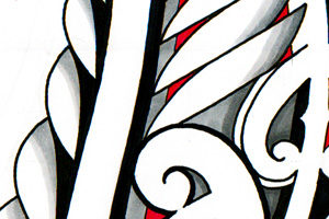 Maori-fern-tattoo-design-koru-leafs-with-red-new-beginnings
