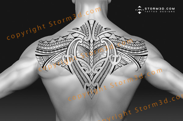 large samoan upper back tattoo design in high quality