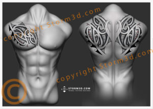 chest-and-upperback-tattoos-in-maori-tribal-style