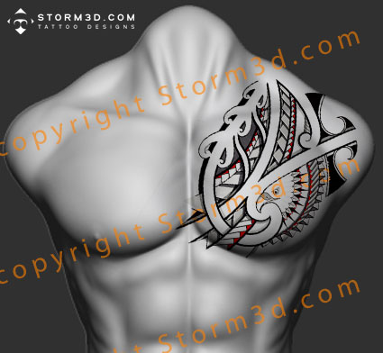 chest-tattoo-eagle-design-maori-tribal-artist