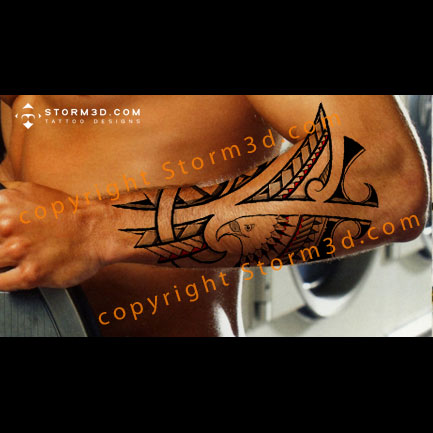 forearm-eagle-tattoos-tribal-style-polynesia