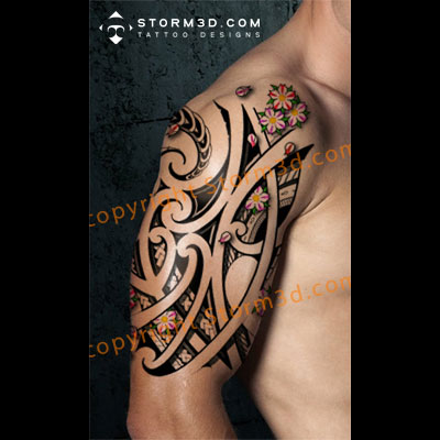 maori tattoo with cherry blossoms tribal polynesian tattoo designs. Black Bedroom Furniture Sets. Home Design Ideas