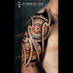 halfsleeve-tribal-tatoo-mandala-design-red-colors
