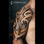 halfsleeve-tribal-tattoo-with-turtle-design-examples