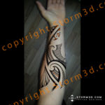 inner-forearm-maori-design-orange-elements-polynesian-patterns