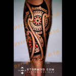 mandala-tribal-tattoo-for-lower-leg-calf