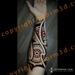 maori-forearm-red-color-mandalas-design-in-tattoos