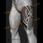 maori-thigh-tattoo-design-with-red-patterns-digital-mockup