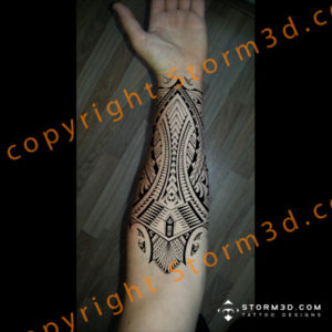 samoan-forearm-tattoo-design-black-tribal-ink