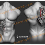 stomach-or-upperback-tattoo-design-storm3d-red