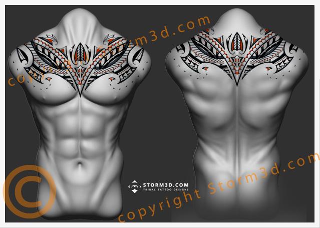 symmetrical-chestplate-tattoo-polynesia-maori-upperback-design