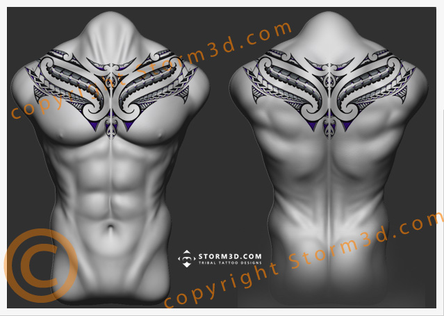 upperback-maori-tattoo-chestplate-collar-design-by-Storm3d
