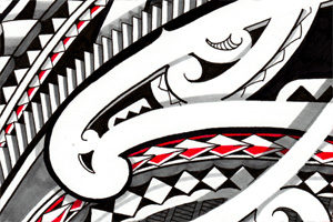 maori-forearm-tattoo-tribal-storm3d-design-with-red-symbols