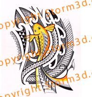 high-resolution-tribal-koifish-design-japanese-tattoo