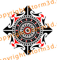 tribal-mandala-tattoos-polynesia-artist-red-color-examples