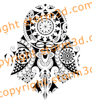 polynesian-mask-lizard-sleeve-tattoo-design