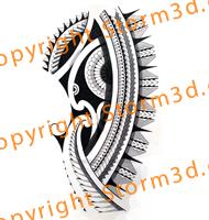 tribal polynesian shoulder tattoo with mandala