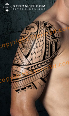 samoan tribal shoulder sleeve tattoo