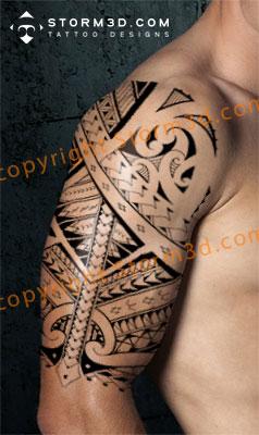 tribal-full-sleeve-tattoo-designs-black-white-samoa