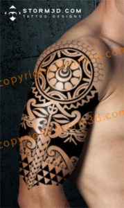 sleeve tatoo with mask design tribal polynesia black