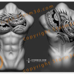chest-pec-and-upperback-tattoo-design-storm3d-tattoo-flash-for-sale