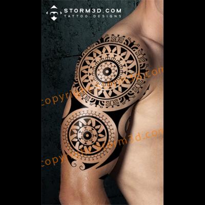 Polynesian Mandala tattoo with compass and abstract sun design