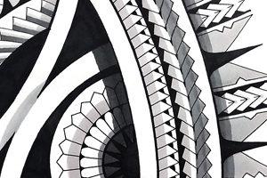 Polynesian mandala tattoo sun design black shading
