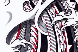 mixed-japanese-polynesian-tribal-shoulder-tattoo-flash-designs
