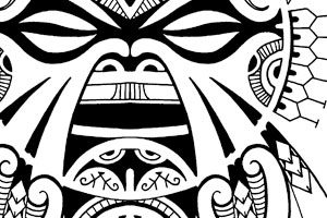 polynesian-quarter-sleeve-tattoo-design-with-tiki-face-mask-eyes