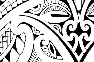 polynesian-mask-armband-design-tattoo-leg-band-around-lower-leg