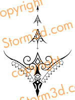 thong tattoo tribal polynesian fineline design